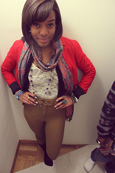 Brianna C. - Red Blazer, High Waisted Riding Pants, Lace Bodysuit, Forever 21 Accessories - Lace