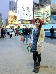Nam Cheah - New Look Boots, Elephant Necklace, From Dad Leather Belt, Cath Kidson Briefcase, Topshop Beige Cardigan, Blue Polka Dot Dress, Striped Tights - An evening in HK :)