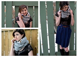 Paulina C - Infinity Scarf, Lace Top, Goodwill Skort, Urban Outfitters Leather Belt - Pet Lions- Roman History