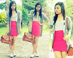Rose Ann Bonaobra - Tomato Gray Oxford, The Ramp Crossings Hot Pink Bandage Skirt, Parisian Beige Top Handle And Cross Body Leather Bag, Penshoppe Gray Top, Bench Gray Cardigan - Pink Shock