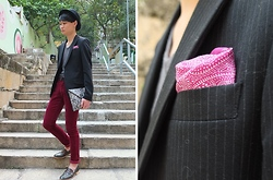 Edward Poon - Zara Purple Print Pocket Square, Induhomme Stripped Blazer, H&M Snake Skin Clutch, Initial Dark Green Loafers - Hello 2012!!