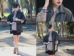 Chesley Tolentino - Sugarlips Cape Coat, Jessica Simpson Sweater, Forever 21 Booties - Preppy Heaven