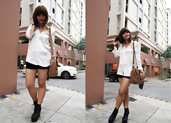 Isabelle V - Mango Top, H&M Shorts, Aldo Bag, Jeffrey Campbell Litas - Starting the Year Right with Black and White