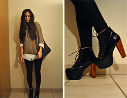 KaoriAnne Jolliffe - Jeffrey Campbell Boots, Second Hand Bag, Dorothy Perkins Pullover - FEET DON'T FAIL ME NOW