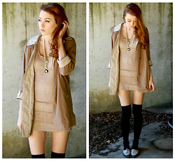 Megan Brigance - Thrifted Coat, Vintage Necklaces, Forever 21 Dress, Ebay Socks, Urban Outfitters Oxfords - Heart Skipped a Beat
