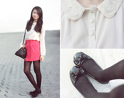 Sophie Ramos - Summersault Peter Pan Collared Top, So! Fab Black Flats, Melty Kiss Pink Skirt, Fab & Chic Black Bucket Bag - Poppin' Pink