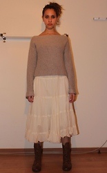 Keren O. - Topshop Sweater, Secondhand Skirt, Pull & Bear Brown Boots - Dry Ice