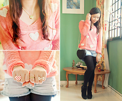 Kisty Mea - H&M Heart Shaped Bag, Accessorize Polka Dotted Heart Ring, Thrifted Pink Hearts Sweater - Hearts x Hearts