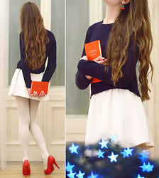 Ariadna Majewska - Solar Navy Shirts, Nike White Skirt, Toria Blanic Red Heels, White Tights, Cherry Earrings - Reach for the stars