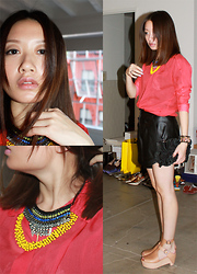 Julie Z.L. - Topshop Black Flower Purse, Urban Outfitters Bib Necklace, Yellow Necklace, Mango Red Sheer, Alexander Wang Black Leather Shorts, 3.1 Phillip Lim Nude Wedge Sandals - My Red year and Black flower