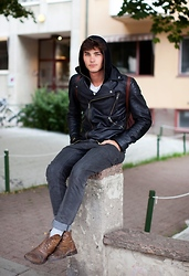 Oscar Spendrup - Leather Jacket, Shirt, Jeans, Boots - It's Cold Outside