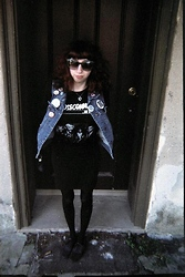 Dani Tauber - Black Tights, Black Oxfords, Collected Over The Years... Assorted Buttons, Claire's Mood Change Heart Necklace, Jean Vest, Lucky Rabbit's Foot, The Disconnects T Shirt, Black Mini Skirt, Forever 21 Bitchin' Shades - YOUTH