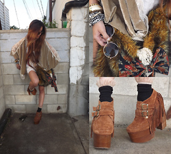Sera Brand - Nasty Gal Kimono, Sera Brand Fur Bag, Jeffrey Campbell Suede Boots, American Apparel Sox, Brandy Mevile Knit Tank - Supercalifragilisticexpialidopeshit