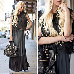 Marie Hamm - Diane Von Furstenberg Goat Fur Vest, A.L.C. Two Tone Pleat Skirt, Balenciaga Handbag - Pleats on the Streets.
