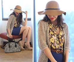 Bea Benedicto - Forever 21 Floppy Hat, Divisoria Under The Sea Necklace, Noel Bazaar Zebra Bag, People Are Nude Wooden Pumps, Divisoria Blue Bandage Skirt - Nameless Hatter