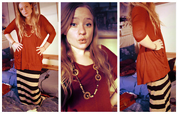 Linnéa B - Gina Tricot Red Tunic, Vintage Y Beaded Necklace, H&M Striped Tight Maxiskirt - When you fall, just breath through it all