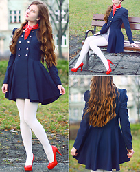 Ariadna Majewska - Bb Fashion Double Breasted Blue Coat, Toria Blanic Red Heels, H&M Striped Dress, Vintage Red Scarf, White Tights - Sailor's chic