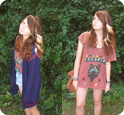 Maddie Grubb - Camden Faded Glory Vintage Denim Shorts, Urban Outfitters Truly Madly Deeply Montana Shirt, Urban Outfitters Feather Headband, 80's Vintage Blue Woollen Cardigan, Topshop Brown Leather Bag - Messy Hair, Messy Mind