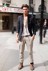 Oscar Spendrup - Tank Boots, Navy Blazer, Necklace, T Shirt, Belt, Bracelet, Trousers - You Da One - Rihanna