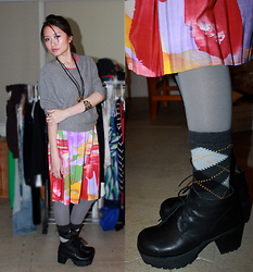 Julie Z.L. - Zara Gray Sweater, A Store In Hawaii Watercolor Print Dress, Gray Legging, J. Crew Argyles Socks, Deena & Ozzy Rayanne Leather Lace Up Boot - Winter Blooms