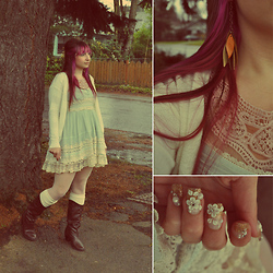 Lauralyn A. - Mint Lace Dress, Forever 21 Cream Cardigan, Diamond Lace Otk, Forever 21 Sheer Lacy Top, Kawaii Nails Gold Dust, Handmade Recycled Leather Earrings - This time in between the day and the night...