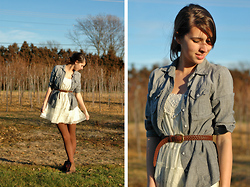 Josie Michelle - Gap Chambray Shirt, Target Dress, Vintage Boots - Little White Dress