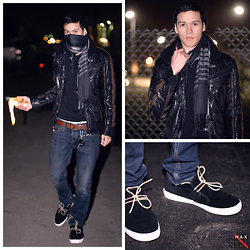 Max Wright - Members Only Indie Puffer Jacket Black, Supra Cubans Black Suede/Leather, Molotov Cocktail, H&M Beanie, H&M Leather Belt, Hollister Skinny Jeans, Plaid Scarf Bl/Gr, H&M V Neck Black - How about a cocktail?
