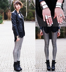 Joanna SERWUS - Romwe Wedges, Romwe Mask Ring, Romwe Leather Jacket, Romwe Necklace - Silver metallic leggings