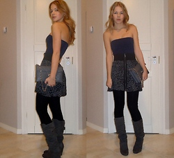 Tiina O - Victoria's Secret Skirt, Stradivarius Purse, New Look Boots - Grey leopard