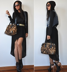 Aniko V. - Bershka Waistcoat, Kenneth Cole Cap, Kenneth Cole Bag, Mango Sunglasses, Zara Shirt, Zara Skirt, Zara Boots - A little winter in the summer...