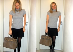 Vanda Santos - Accessorize Necklace, Zara Blouse, Zara Boots - Gray or Grey!!!