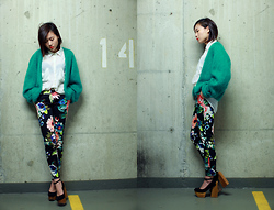 Michelle Zhang - Vintage Sweater, H&M Pants, Jeffrey Campbell Shoes - Flower pants part1