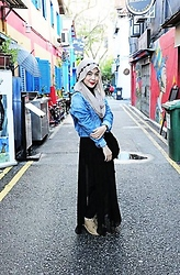Dalillah Ismail - Accessorize Floral Headband, Accessorize Loop Scarf, Topshop Denim Jacket, Zara Asymmetric Skirt, Forever 21 Oxford Shoes - Grunge? no.