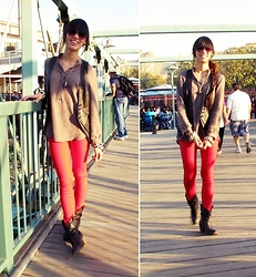 Josephine Chang - Brown Pleather Asymmetrical Vest, H&M Light Brown Tunic, Target Red Skinny Jeans, Forever 21 Brown Ankle Boots - He thinks of me when he's with you