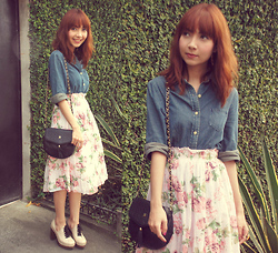 Bestie K - Thrifted Denim Shirt, Thrifted Skirt, Vintage Quilted Bag, Ferretti Clogs - When melodies are gone, in you i hear a song