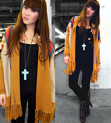 Jenny Pham - Forever 21 Cross Chain, Gina Tricot Looooong, Urban Outfitters Cardigan, Louis Vuitton Brown Boots, Asos Bodysuits - Cross my way