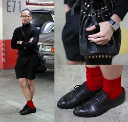 JP Singson - Acne Studios Brogues, Raf Simons Sweater, Ih Shorts, Alexander Wang Diego Bucket Bag, Cartier Santos 100, Uniqlo Socks - Black and Rouge