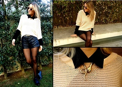 Mariana CastroMoreira - H&M Shorts, Topshop Jumper, Blanco Snake Necklace, Urban Outfitters Brogues - Leather shorts