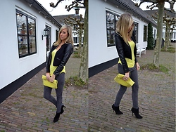 Ellis In Fashionland - Zara Ankle Boots, Leather Snake Clutch, H&M Legging, H&M Cotton/Leather Jacket, H&M Top - Spring coloured outfit