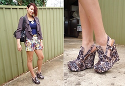 Sarah Zed - Jeffrey Campbell Velvet Darians, Bluejuice Floral Shorts, Mimco Leather Bag, Kenji Waterfall Jacket, Sportsgirl Necklace, Miss Shop Top - Florals
