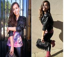 Larissa Cidral - Leather Jacket, Fringe Bag, Colcci Pink Country Boots, Pink Shirt - Sweet rock'n roll.