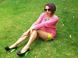 Sarah Zed - Therapy Diy Neon Ified Heels, Esprit Neon Green Shorts, Bardot Crochet Batwing Sweater, Mirrored Perspex Necklace - It's still summer