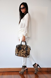 Aniko V. - Mango Sunglasses, Zara Blouse, Zara Trouser, Kenneth Cole Bag, Kenneth Cole Heels - White Leopard