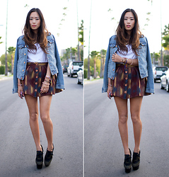 Aimee Song - Burberry Wedges, H&M Denim Jacket - Winter Skirt & Burberry Wedges