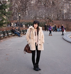 Alyssa J. - Topshop Bow Headband, Minkpink Faux Fur Coat, American Apparel Chiffon Button Up, Forever 21 Leather Shorts, Uniqlo Heat Tech Tights, H&M Lace Up Boots - Winter in New York City
