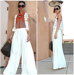 Frankie Hearts Fashion - Yves Saint Laurent Palazzo Pants, Shop Frankie's Top - Throwback
