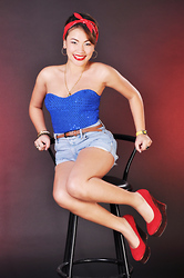Ish Manuelle - Blue Tube Dress, Wade Red Platform Wedge - Pin me up your locker door ♥