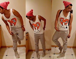 Justin Keo - American Apparel Red Beanie, The Dirt Label Printed Tank, Marc By Jacobs Lilac Jeans, Urban Outfitters Grey Sneakers, Marc By Jacobs Panther Printed Bag - Knock Out!