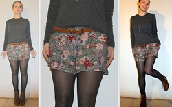 Gemma Guinevere - Floral Shorts, Sweater, Tights, Forever 21 Booties - Life Must Be Lived As Play