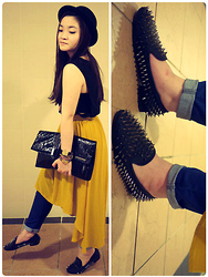 Grace Ng - H&M Bowler Hat, Matt&Natt Clutch, Forever 21 Train Skirt, Studded Loafers - Get on your studded shoes!